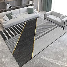 Rugs desk rug washable Black gray geometric design
