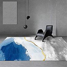 Rugs fireplace rug Blue white gray ink abstract