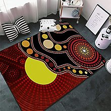 Rugs Living Room Abstract Brown Yellow Black Sun