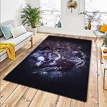 Rugs Living Room Black Purple Crow Animal Wolf