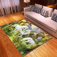 Rugs Living Room Large 60x90cm Green Horse Fluffy