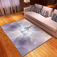 Rugs Living Room Large 60x90cm Grey Horse Fluffy
