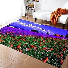 Rugs Living Room Large 60x90cm Purple Green Fluffy