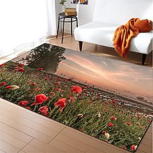Rugs Living Room Large 60x90cm Red Flowers Fluffy