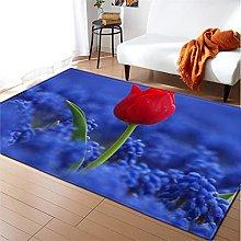 Rugs Living Room Large 80x120cm Blue Flower Fluffy