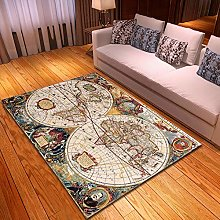 Rugs Living Room Large 80x120cm Grey Map Fluffy