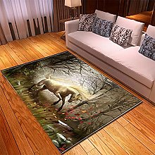 Rugs Living Room Large 80x160cm Grey Horse Fluffy