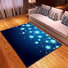 Rugs Living Room Large Blue Black Stars Pattern