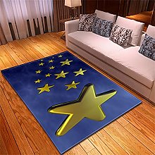 Rugs Living Room Large Blue Gold Stars Pattern