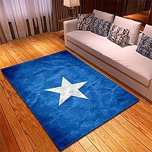 Rugs Living Room Large Blue Stars Pattern Modern