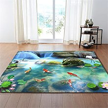 Rugs Living Room Large Blue Waterfall Pattern