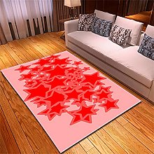 Rugs Living Room Large Pink Red Stars Pattern