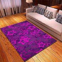 Rugs Living Room Large Purple Stars Pattern Modern