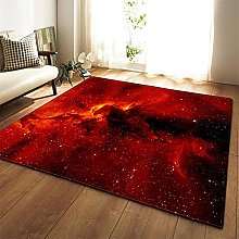 Rugs Living Room Large Red Starry Sky Pattern