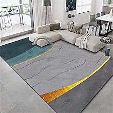 Rugs non slip rug Blue yellow gray simple ink