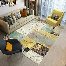 Rugs soft rug Blue yellow brown art doodle