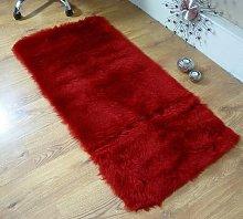 Rugs Supermarket Deep red faux fur oblong