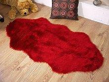 Rugs Supermarket Deep red faux fur sheepskin style