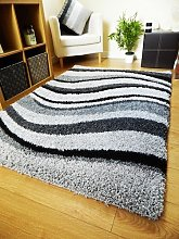 Rugs Superstore NEW MODERN SOFT SHAGGY RUG BLACK