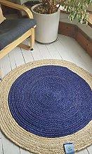 Rugsite 100x100cm Round Circular Dark Blue with