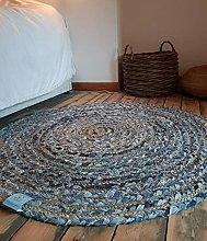 Rugsite 120cmx120cm Round Circular Jute with Denim