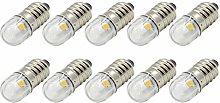 Ruiandsion 10pcs 6V E10 Base Socket LED Bulb 1W