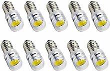 Ruiandsion 10pcs 6V E10 Base Socket LED Bulb COB