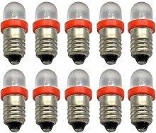 Ruiandsion 10pcs LED Flashlight Bulbs 12V E10 LED