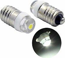 Ruiandsion 2pcs E10 LED Bulb DC 3-18V 0.5W 6000K