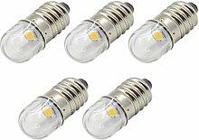 Ruiandsion 5pcs 3V E10 Base Socket LED Bulb 1W