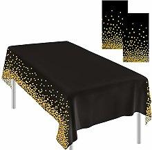 Ruisita 2 Pieces Tablecloths Black Gold Dot