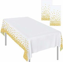 Ruisita 2 Pieces Tablecloths Gold Dot Tablecloths