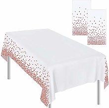 Ruisita 2 Pieces Tablecloths Rose Gold Dot