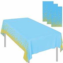 Ruisita 3 Pieces Dot Tablecloths Blue Gold Party