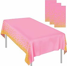 Ruisita 3 Pieces Dot Tablecloths Pink Gold Party