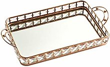 Ruixf Gold/Silver Crystal Serving Tray with Handle