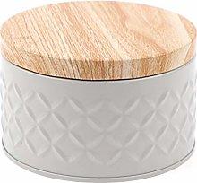 RUIYELE Round Cookie Storage Jar with Wood