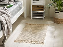 Runner Rug Beige Jute and Cotton 50 x 80 cm Small