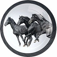 Running Black Horse Crystal Drawer Handles