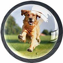 Running Happy Dog 4 Pieces Crystal Glass Wardrobe
