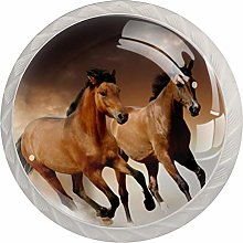 Running Horse Brown 4 Pieces Crystal Glass