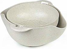 RUNWEI Kitchen Drain Basket, Double Layer Portable