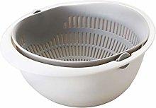 RUNWEI Kitchen Drain Basket, Double-layer Rice