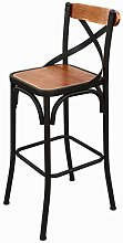 RUNWEI Simple Wrought Iron Table Chair Solid Wood