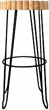 RUNWEI Wrought Iron Bar Stools, Retro Stools Solid