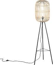 Rural floor lamp rattan - Manila