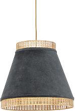 Rural hanging lamp gray velvet with cane 45 cm -