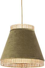 Rural hanging lamp green velvet with cane 45 cm -