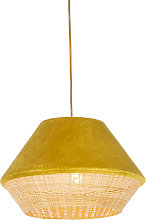 Rural hanging lamp yellow velvet with cane 45 cm -