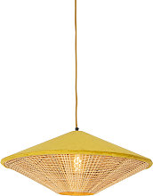 Rural hanging lamp yellow velvet with cane 60 cm -